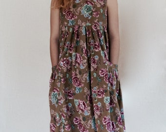 50% Off! 1980s Khaki Brown and Pink Floral Dress