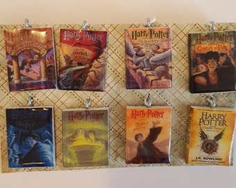 Handmade Harry Potter Ornament Set , J.K. Rowling Book Ornaments,  Set of 8 mini or jumbo size Book Ornaments. Made to order.