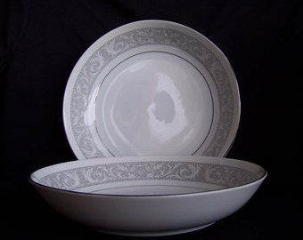 """Imperial China Whitney Pattern No. 5671, Two Coupe Soup Bowls, 7.5"""" in Diameter"""