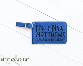 Travel Gifts for Mr and Mrs, Gifts for Couple, Travel Luggage Tag, Blue Wedding Gift, Bridal Shower Gift, Wedding Favor, Nautical LT41