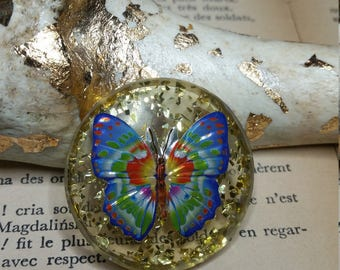 Round resin 'He who butinait setbacks' brooch / / Butterfly brooch / / spindle fancy / / funny jewel / / gift for her