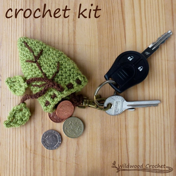 Crochet Purse Keychain Pattern : keychain purse crochet kit//crochet leaf pattern//nature