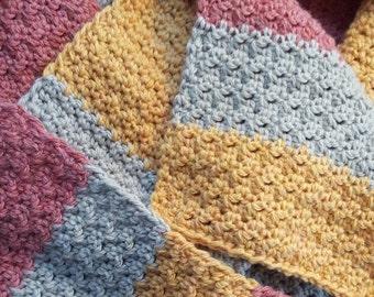 Crochet Sherbet Scarf in Raspberry, Orange and Pale Grey