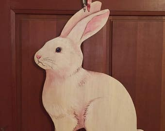 Bunny Wood Door Hanger - Handpainted Likelike Rabbit - Easter - Spring - Nursery - Ribbon Bow