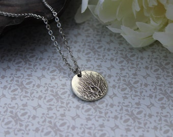 Tree necklace, tree branch, tree jewelry, branches, silver branch, winter tree, bare branches, disc, silver, simple nature jewelry