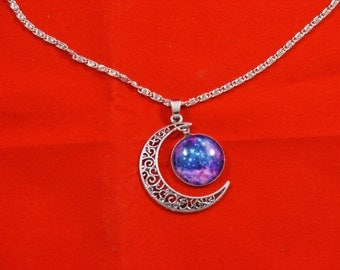 Crescent Moon with Blue Glass Pendant