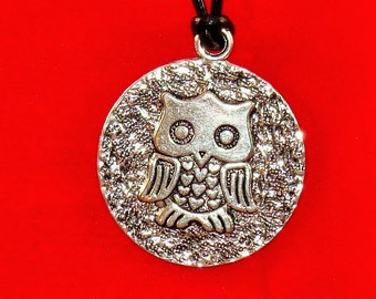 Owl Medallion on a Leather Necklace