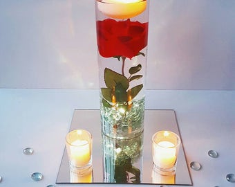 Floating Candle Centerpiece, Rose Centerpiece, Beauty And The Beast Wedding Centerpiece, Wedding Decor, Bridal Shower Decoration, Red Decor