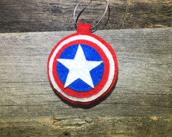 Captain America felt Ornament, Superhero ornament, Avengers ornament, Christmas felt ornament cute, Felt decoration