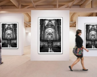 Vertical wall art, Extra Large Wall Art, Architectural photography of a Cathedral SPAIN - Barcellona - Living room Wall Art.