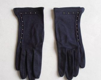 vintage dark blue women gloves size small