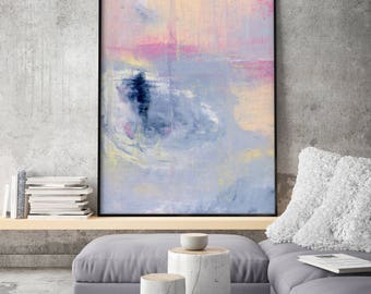 Extra Large Print Giclee of Original Wall Art, Acrylic Abstract Painting, Pink Purple Violett, Navy Blue, Landscape Reproduction Art