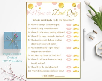 mom vs dad quiz pink and gold baby shower game baby girl polka dot