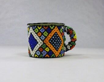Beaded Tin Gift mug,Decorated metal pen pencil holder,Enamel coffee cup,South African office decor,Collectible Folk Art Figurine,big diamond