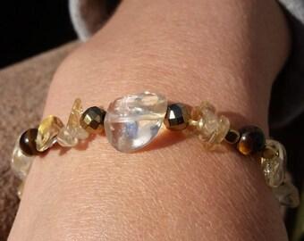 Power + Success Bracelet 1 // citrine, tigers eye, golden hematite, pyrite