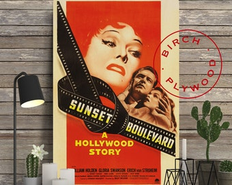 SUNSET BOULEVARD - Poster on Wood, William Holden, Gloria Swanson, Billy Wilder, Unique Gift, Birthday Gift, Print on Wood, Wood Gift