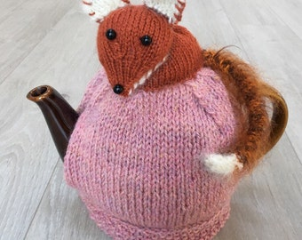 Hand knitted tea cosy - Mothers Day Gift -Tea Cosy - Fox Gifts - Fox Tails - knitted tea cosy - Tea Cozy