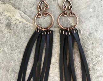 Upcycled urban bike tube fringe & copper earrings