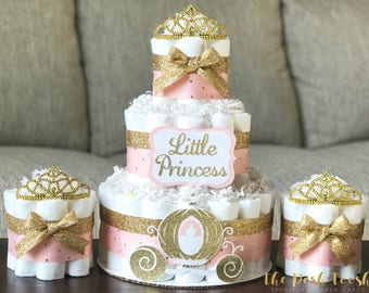 Princess Tiara Diaper Cake, Baby Girl Pink Gold Crown Royal Baby Shower Diaper Cake, Baby Shower Decor Centerpiece, Baby Shower Gift, Set