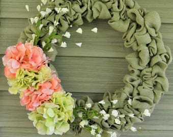 Sage Green Burlap Wreath with Pink and Green Hydrangea Accents - Spring, Summer, Door Hanger