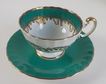 Aynsley Dark Emerald Green Turquoise Blue Teal White Gold Trim Tea Cup - Vintage 1930s Beautiful Condition
