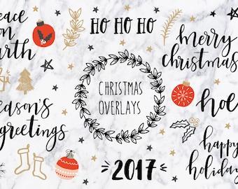 Christmas clipart / Christmas quotes / Christmas clip art / Christmas overlays / hand drawn / PNG / vectors