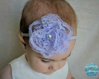 Lavender Headband, Baby Headband, Newborn Headband, Lace Flower Headband, Infant Headband, Baby Hair Bows