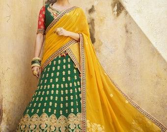 Indian Silk Lehenga - Green, Yellow and Red- Custom Size