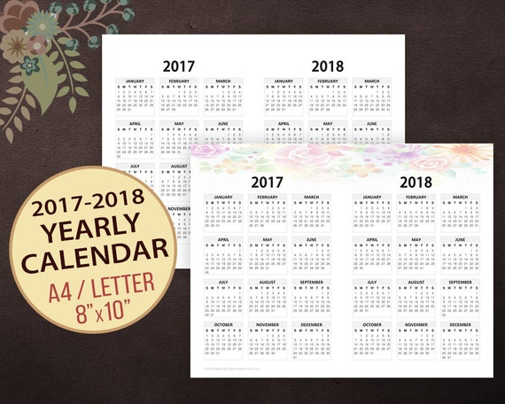 Year Calendar Horizontal : Yearly calendar horizontal wall printable