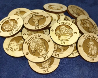 Wooden Creature Tokens for Magic the Gathering