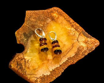 "Amber Earrings with Silver  ""Buttons"""