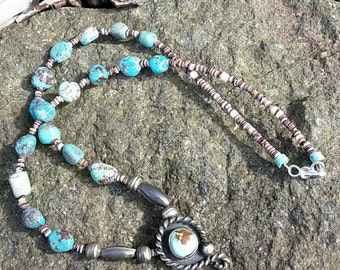 Vintage Sterling Silver Turquoise Necklace
