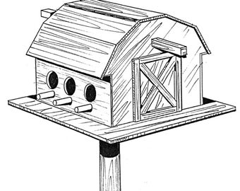 Bird Barn #908 - Woodworking / Craft Pattern. Same Size, Outline Drawings, Simply Trace and Create. No Enlarging or Reducing Necessary!