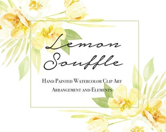 Watercolour Flower Clipart, Hand Painted Graphics - Lemon Souffle - Digital Elements
