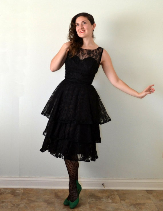 Black Cat Dress | vintage 50's lace peplum sweetheart party dress | small xs