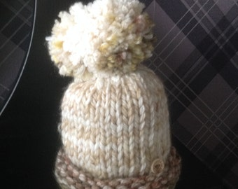 Super Cute Baby Beanie Hat - Matching large Pom Pom - aged 6-12 months