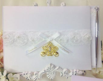 Gold Cinderella Carriage Wedding Guest Book & Pen Set Prince Charming Fairy Tale Pumpkin Coach