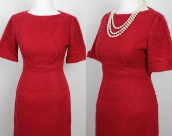 Classic 1960's Red Wool Dress
