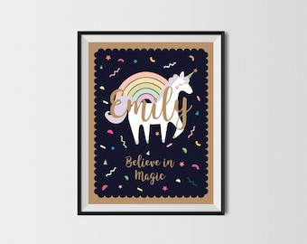Unicorn art print Unicorn print Unicorn Custom Name Initial Poster Customized Name Print Digital Name Children Nursery Art Printable