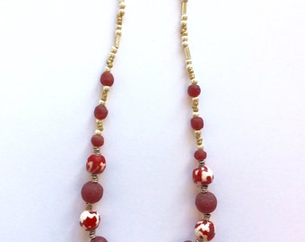 Lovely red and white Krobo beaded necklace