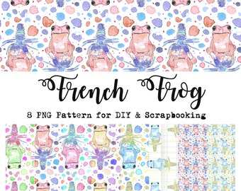 """Patterns Pack """"french Frog"""" Scrapbooking Craft Arts Creative print Photoshop Pattern Decoration PNG"""