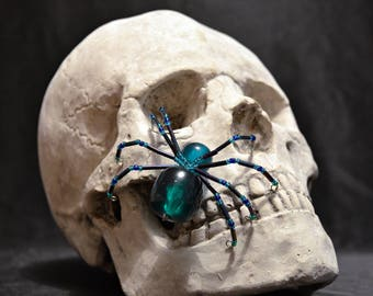 Cute Green and Blue Beaded Spider