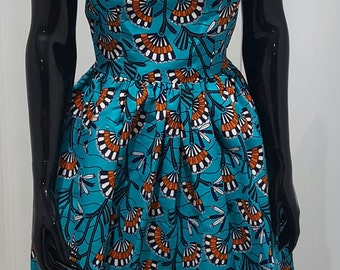 gathered dress in african print