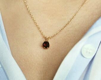 Garnet Necklace, Gold Garnet Pendant, Aquarius Birthstone Necklace, January Birthstone, Small Gold Necklace, Tiny Necklace, Dainty Necklace