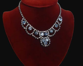Blue Rhinestone Necklace -Vintage