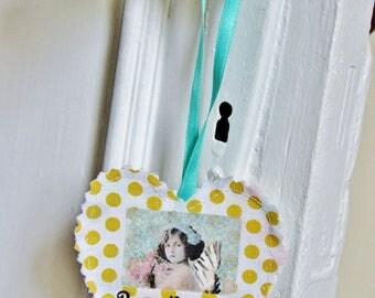 Fabric Door Hanger, Lucky Charm, Inspirational Gift, Vintage Photo, Gift For Her, Gift For Women, Original Gift, Gift For Home