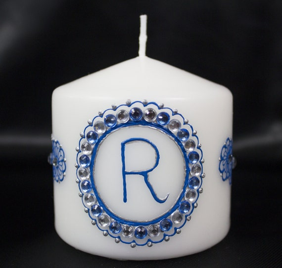 Customizable Henna Candle - Blue and Silver