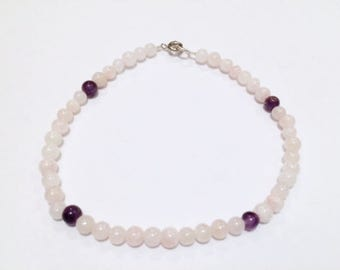 Rose Quartz Amethyst Anklets Gemstones 6mm