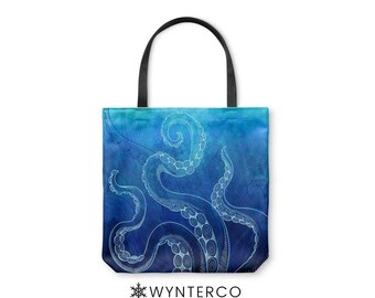 TOTE BAG - Octopus Tote Bag - Canvas tote bag, Watercolor Octopus Tote Bag, Blue shoulder carry bag, Yoga Tote Bag Wynterco Paint tote