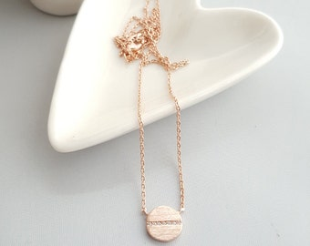 Rose Gold Circle Charm with Cubic Necklace, Geo Necklace, Rose Gold Necklace,Dainty Charm Necklace,Rose Gold Cubic Necklace,Minimal Necklace